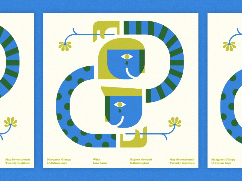 Margaret Glaspy & Julian Lage geometric modern music illustration gig poster