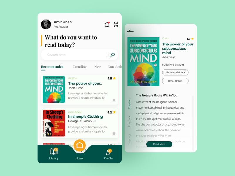 Conceptual e-book reading & audiobook listener app ebook reader book reading app e-book flutter android design app design app ui