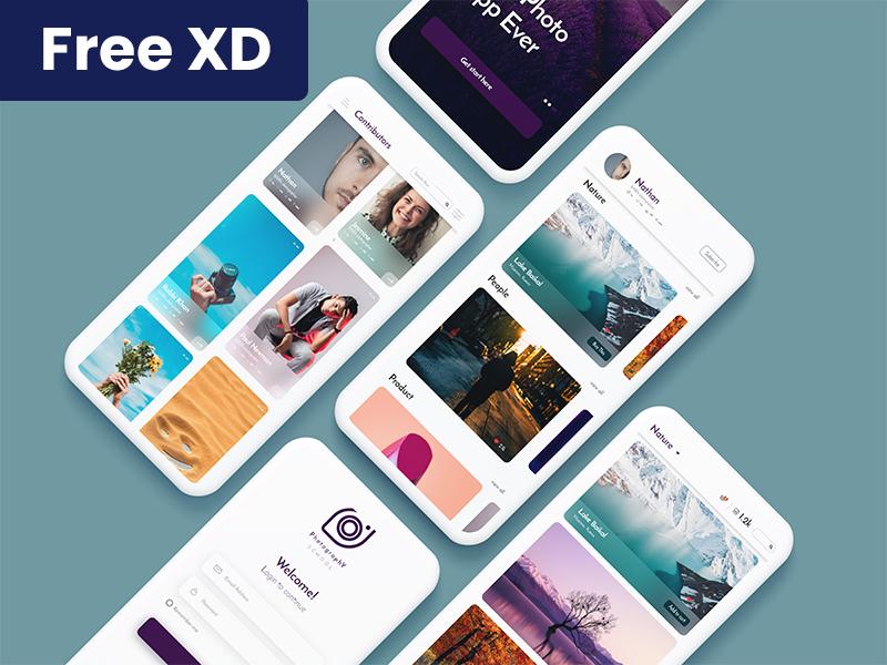 Photography portfolio App Design new concept flicker portfolio app photographer trendy app xd file free ui free app photogrpahy photo ui design ui concept app