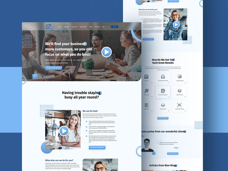 Blue rings website design uiuxdesign uxui agency website agency responsive modern website uidesign uiux ui