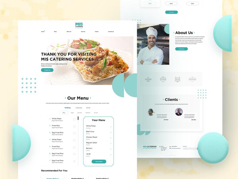 Website designed for a catering service template food uidesign website design minimal ui