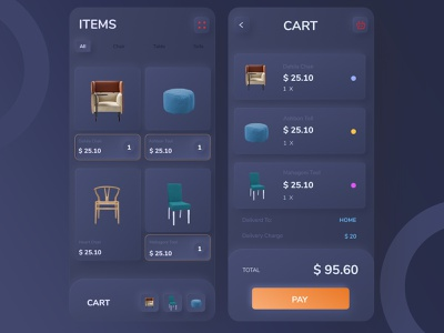Skeuomorphic e-commerce cart and product gallery page dark ui trend 2019 ios app android app ecommerce design ecommerce shop ecommerce app ui