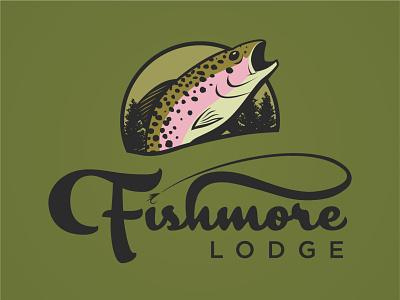 Fishmore Lodge illustration lodge fishmore fishmore lodge vector typography design logo fish fly fishing