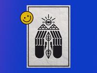 EyeLine poster smiley pyramid logo design colour blue yellow graffiti vector illustration paper