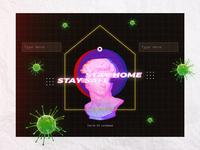Covid-19 Lockdown - Day 1 quarantine covid-19 virus home face print poster vaporwave lockdown covid covid19 illustration paper