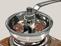 illustration coffee processing