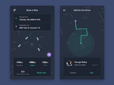 Cab Booking App ui uber taxi mobile minimal map ios cab booking book app address