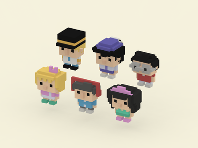 Airline Crew passengers sketchfab magicavoxel unity3d unity people characters aircraft voxel voxel art