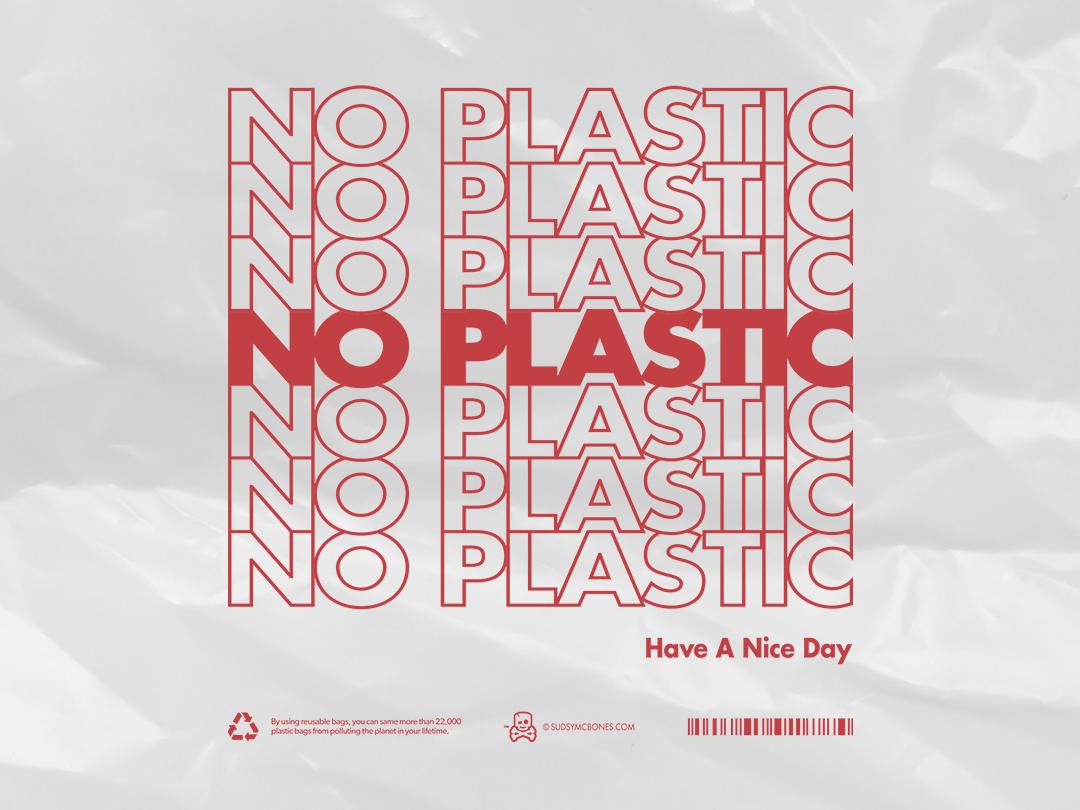No plastic eco-friendly environment plastic bag classic typography