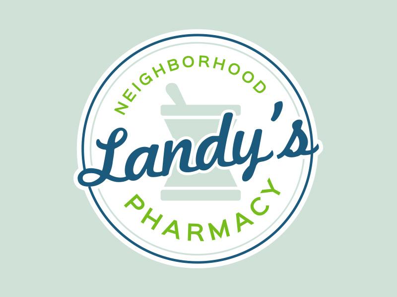 Landy's Pharmacy Logo mortar  pestle logo pharmacy landys