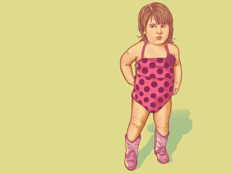 Represent careless pink polka dots represent boots bathing suit