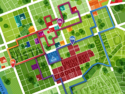 YMCA Columbia Map Graphic landmarks running routes south carolina sc columbia ymca downtown map