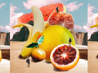 Fruit Mountain hiking fruit collage illustration design