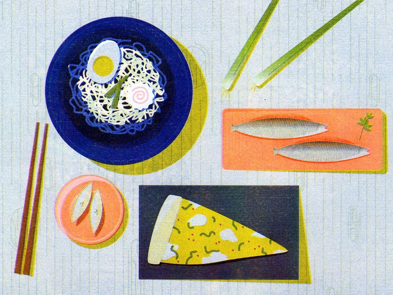 Dining Table dinner scallion fish ramen food riso print risograph riso vector illustration design