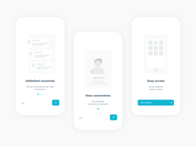 Onboarding for a recruitment app