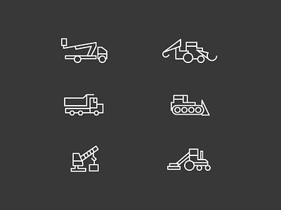 Icon kit equipment backhoe dozer truck equipment icons icon