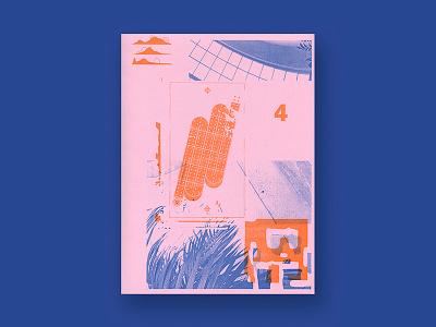 Riso Bud abstract risograph riso printmaking print illustration poster