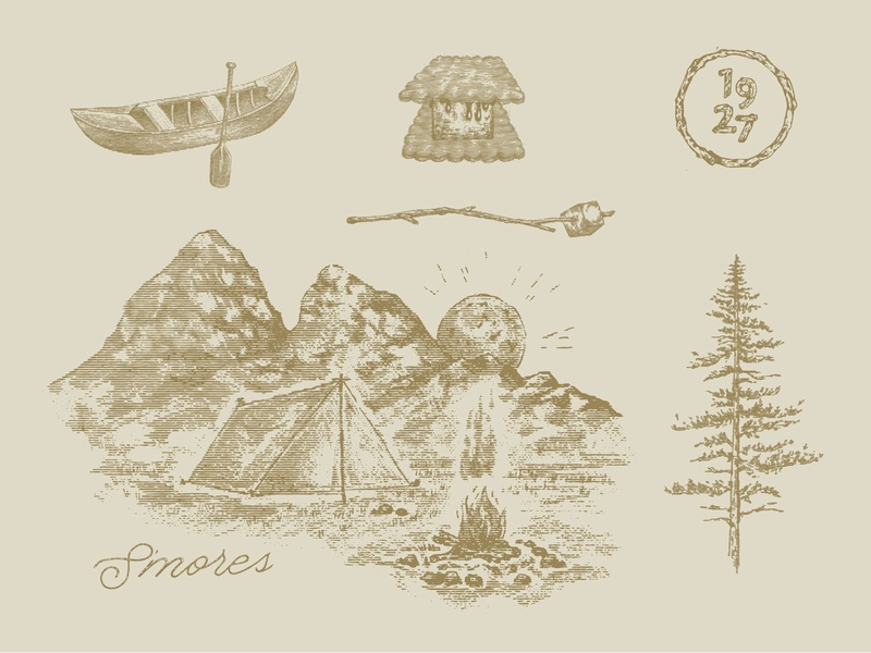 S'mores Illos camping brand custom illustration branding design graphic design illustration