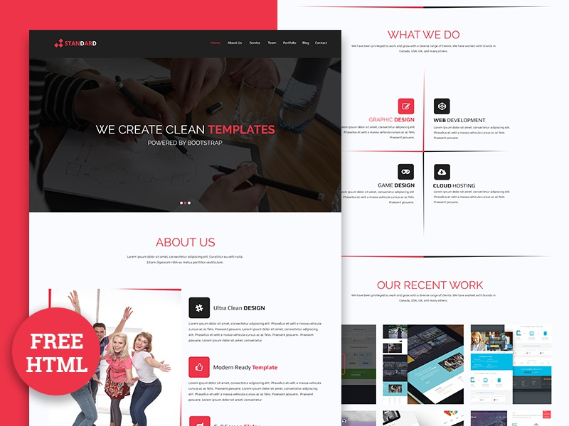 STANDARD – One Page corporate html free Download revolthemes templates freehtml freebie css3 html5 webdesign bootstrap template onepage standard