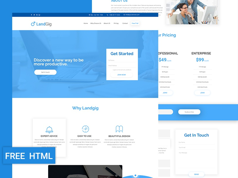 landgig landing page template free html download by revol themes