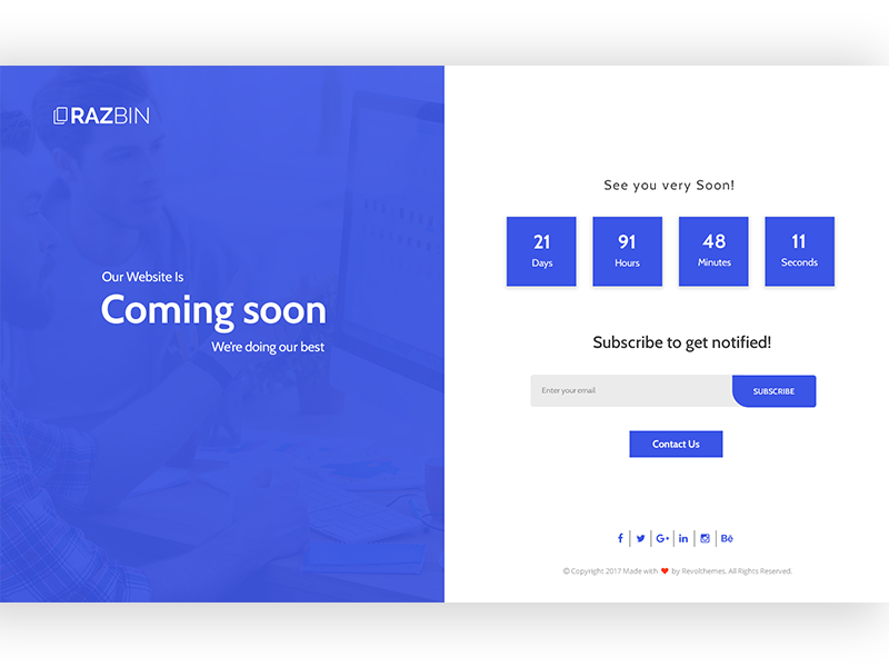 Razbin -  Coming Soon Template  ux design ui design web template onepage coming soon color css3 css htm template web design