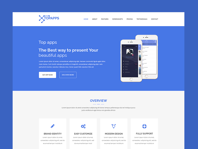 Topapps – Landing Page Psd Free Download