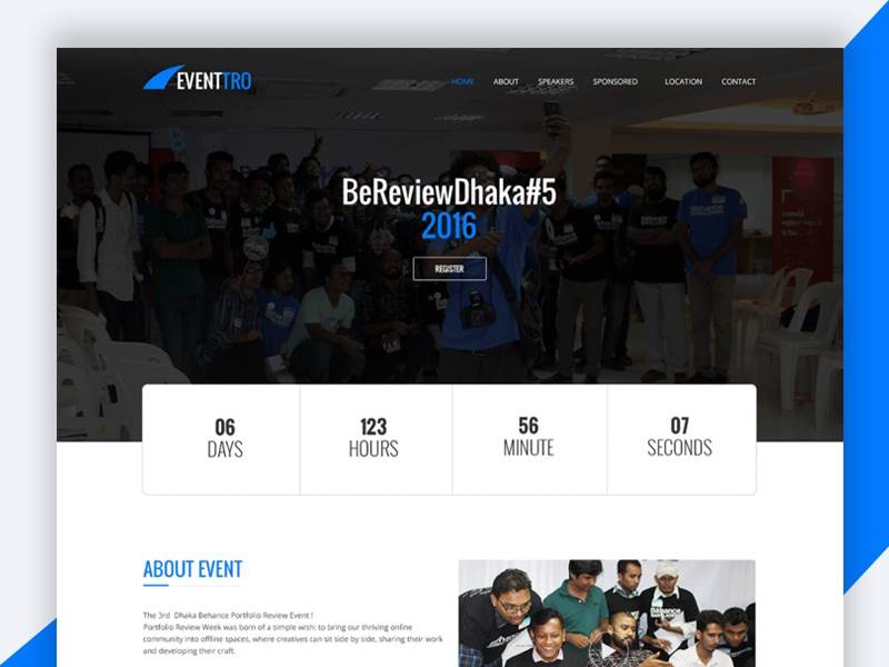 Eventtro – Meetup HTML Landing Page Design Free Download landign page event free html template freebie revolthemes web design bootstrap design template html business eventtro