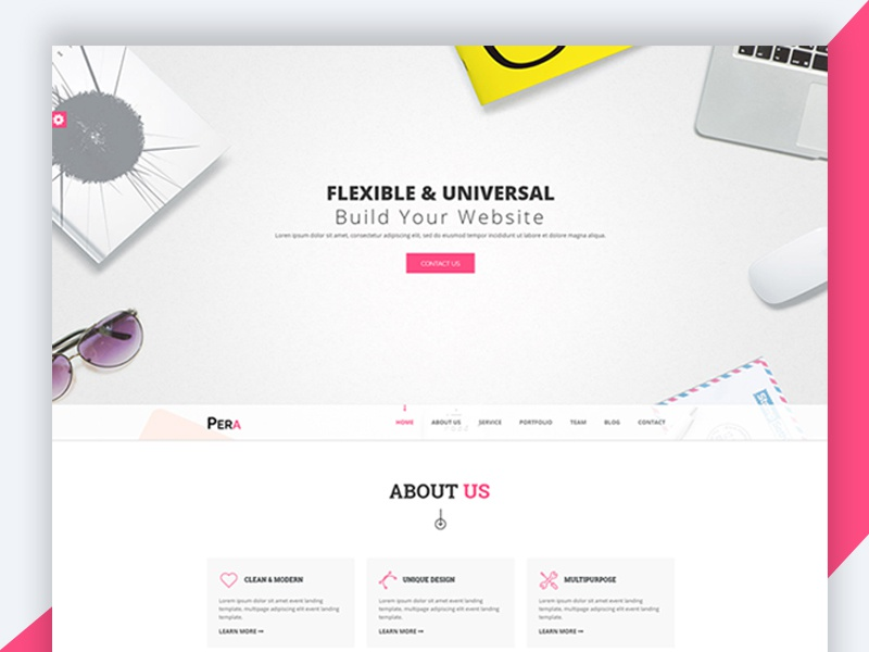 Pera – HTML5 Responsive Agency Template responsive landign page revolthemes web design bootstrap design template web css html business pera
