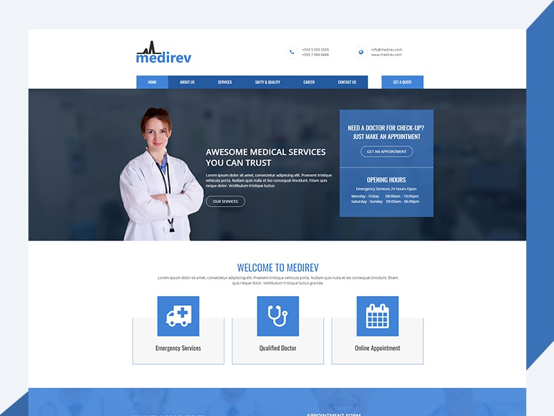 Medirev – Free Medical HTML Template madical free html template freebie revolthemes web design bootstrap design template css html business medirev