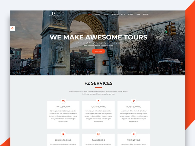 FZ – Tour And Travel Agency HTML Template travel html template revolthemes web design bootstrap web css html business tour fz
