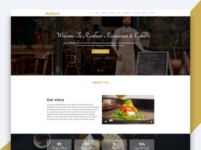 Radhuni – Restaurant & Coffe HTML Template html template revolthemes web design bootstrap web css html business landing page smartly