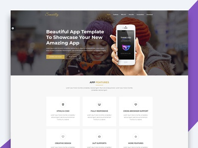 Smartly – App Landing Page HTML Template html template revolthemes web design bootstrap web css html business landing page