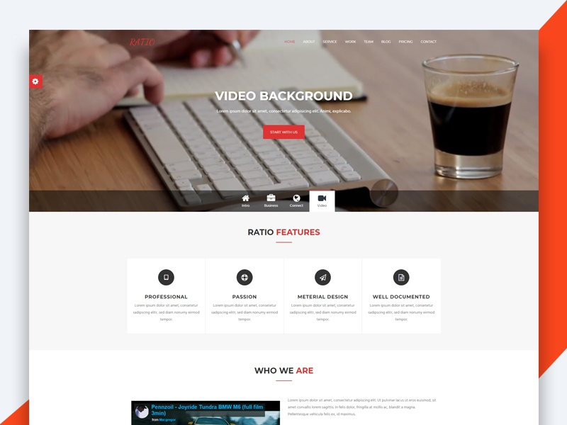 Ratio – Material Design Agency Template freebie free html template revolthemes web design bootstrap web css html business