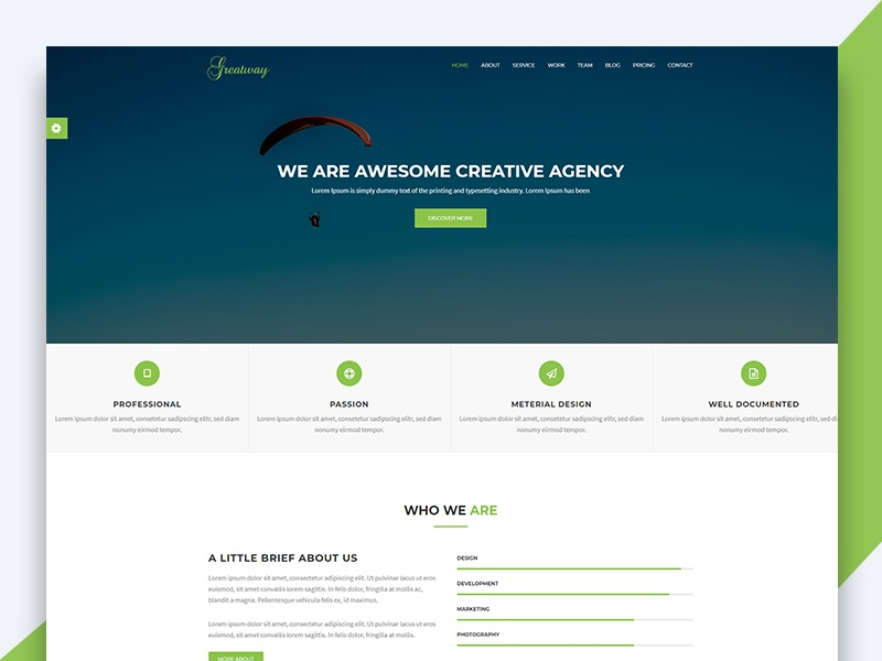 Greatway - Material Design Agency Template html template revolthemes web design bootstrap web css html business greatway