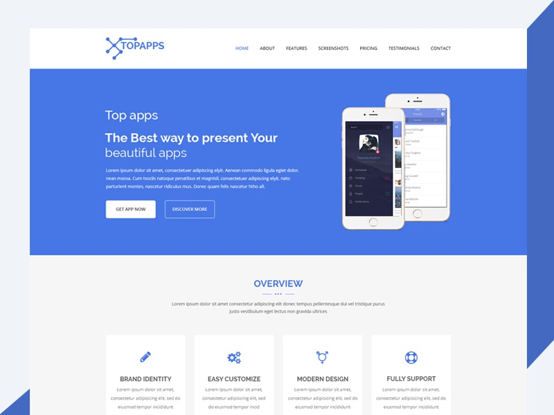 Topapps – Free Bootstrap App Landing Page landing page responsive css3 download free template bootstrap html topapps