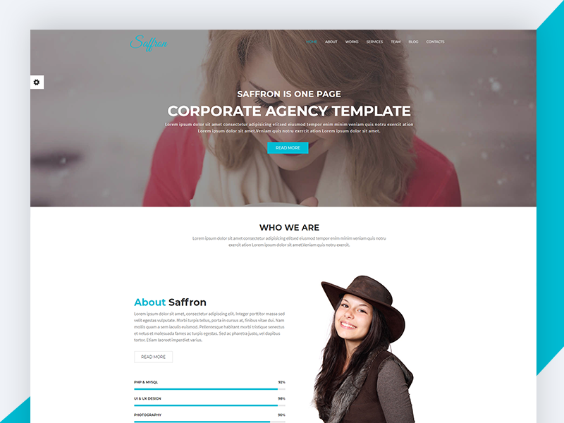 Saffron – Bootstrap Onepage Corporate Agency Template ux ui business responsive css3 download template wedding bootstrap safforn