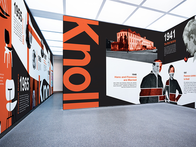 Knoll 80 branding poster illustration vector black furniture orange knoll