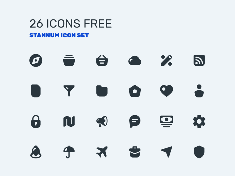 26 icons free! Stannum Icon Set solid ios ui icon set icon icons