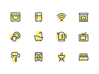 Smart home icons house cooking home kitchen lines iconography sketch illustration icon set icon pack icon kit icons