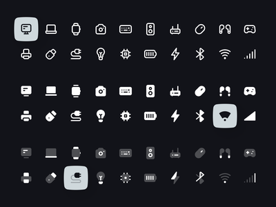 Computers and Electronics Icon Set electronics computer vector svg png figma dark light ux ui duotone solid line interface minimalism clean user interface icon set iconset icons