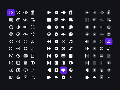 Media Controls Icon Set solid duotone light line dark icon figma interface ux ui clean icons icon set controls player media player media controls