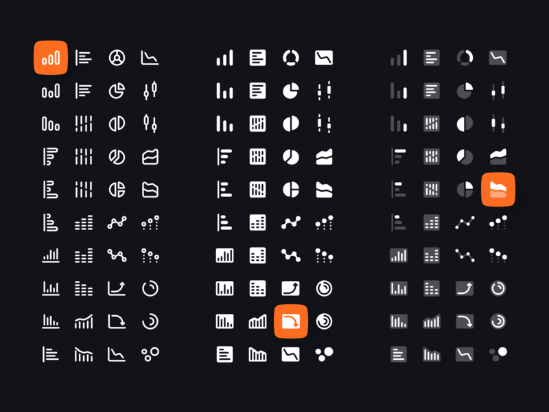 Charts and Graphs Icon Set vector minimalism interface ux ui clean light dark figma icon icon set duotone solid line graphic chart