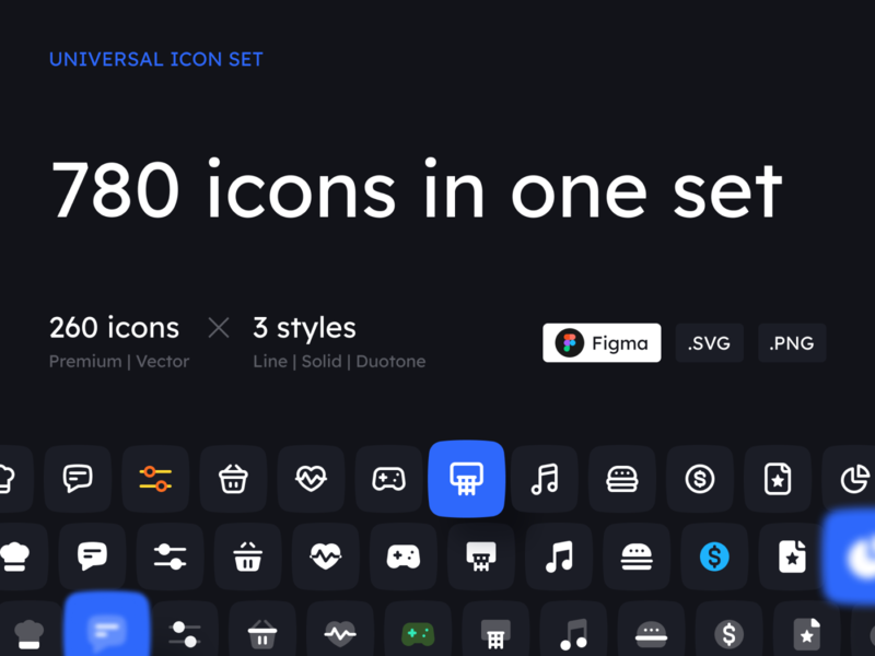 UNIVERSAL ICON SET vector ux user inteface duik svg solid png minimalism line light universal icon set interface iconset icons figma duotone dark clean