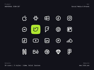 Universal Icon Set | Social Media & Brands dark icons icon design icon pack glyph duotone line solid vector brands social media social icon icon set minimalism figma ux interface clean ui