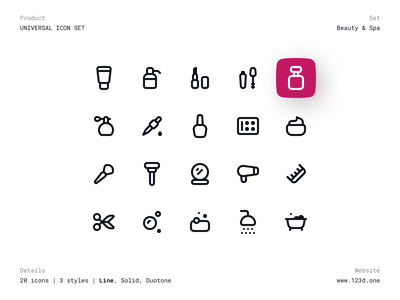 Universal Icon Set | Beauty & Spa solid line duotone beauty spa vector icon set dark minimalism figma interface ux clean ui icon design iconography icons pack icon iconset icons