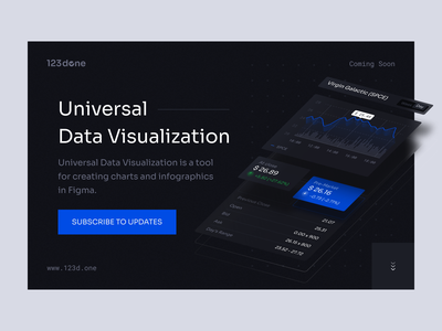 Universal Data Visualization | Coming soon 123done universal data visualization figma doughnut graph table dashboard dataviz charts chart analytics data visualization data infographic product page landing page cover hero section hero ui