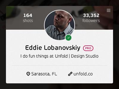 Profile Card dribbble wip profile card ui flat interface clean