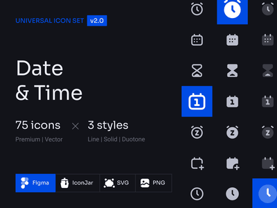 Update | Date and Time 123done universal icon set date and time time date icon pack icon design icon system icon icons iconset icon set figma vector icons glyph clean minimalism iconography symbol ui