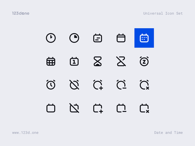 Universal Icon Set 123done universal icon set iconset icon pack icon design iconography icon system glyph vector icons icon set icons icon figma iconjar minimalism clean ui time date date and time