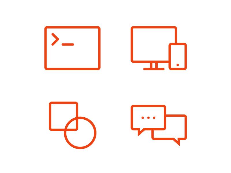 Clean and simple icon developer support design adaptive orange web
